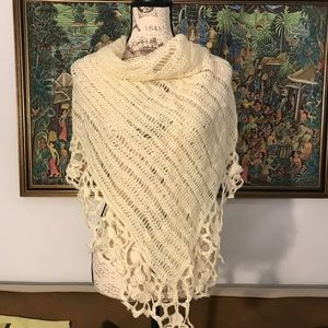 Wool lace triangle knitted crochet flower shawl